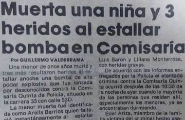 Así reportó EL HERALDO aquel hecho inusual en Barranquilla para esa época.
