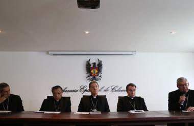 La conferencia Episcopal durante la presentación del balance apostólico de la visita del Papa Francisco.