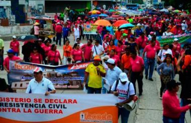 Caminata de docentes durante el último paro realizado en 2017.
