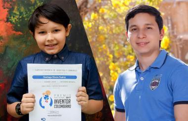 Santiago Rivera, de 9 años, segundo lugar en la categoría infantil y Alberto Mario Moros, de 20 años, mejor Inventor 2017 categoría juvenil.