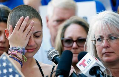 Emma González cuando se dirigía este sábado durante un acto público sobre el control de las armas en EEUU.