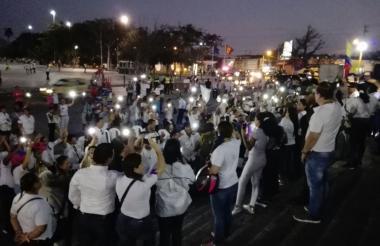 Con luces concluyó el evento en la Plaza de la Paz.