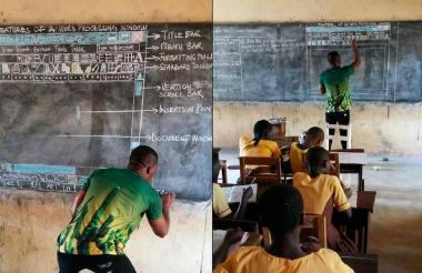 Kwadwo dibujó sobre el tablero el word con ayuda de tiza.