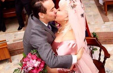 La Gorda Fabiola el día de su boda con Nelson Polanía.