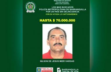Nilson De Jesús Mier Vargas estaba prófugo de la justicia.
