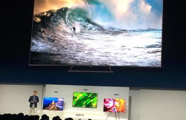 Jong-hee Han, presidente de Visual Display de Samsung Electronics, durante la presentación del QLED TV 2018 en NY.