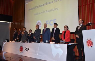 Instalación de la asamblea de la Federación Colombiana de Fútbol, en la mañana de este jueves en Bogotá.