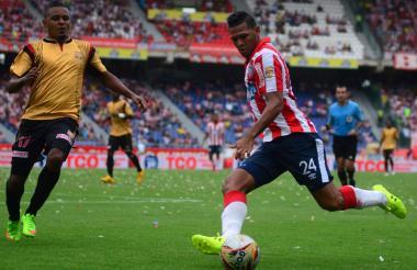 Félix Noguera durante un encuentro con la camiseta de Junior.