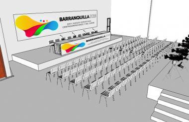 Sala de conferencias de prensa con capacidad para 100 periodistas.