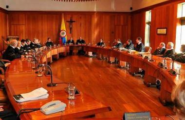Aspecto de una sesión plena del Consejo de Estado, en la ciudad de Bogotá.