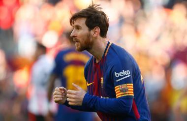 Messi bailó en la celebración de su gol ante el Athletic.