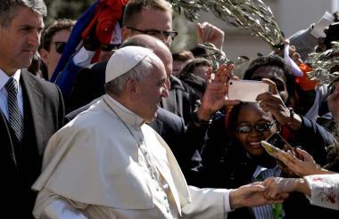El papa Francisco durante la misa de Domingo de Ramos.