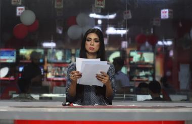 Marvia Malik, presentadora de noticias de la televisión de Pakistán.