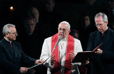 El Papa durante la ceremonia del Vía Crucis en Viernes Santo.