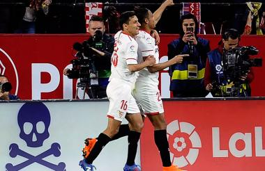 Luis Fernando Muriel celebra el gol que anotó este sábado ante Barcelona.