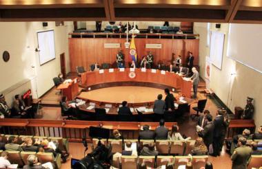 Aspecto de una audiencia en las instalaciones de la Corte Constitucional.