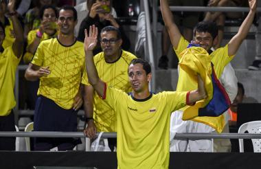 Daniel Galán festeja su triunfo ante el brasileño Thiago Monteiro.