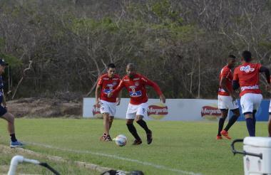 Alberto 'El Mudo' Rodríguez durante un entrenamiento con Junior.