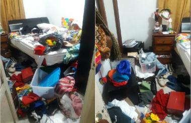 Así dejaron el cuarto de Garizábalo los asaltantes.