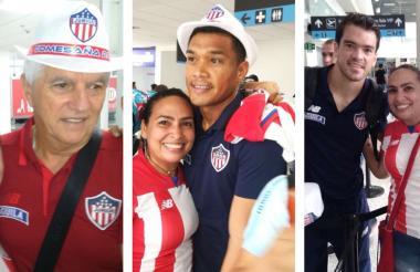 Comesaña y Teófilo se pusieron los sombreros obsequiados por los fanáticos rojiblancos en Montería. Sebastián Hernández posó con el regalo en la mano.