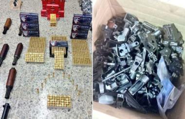 Las partes de armas de fuego y las municiones incautadas.