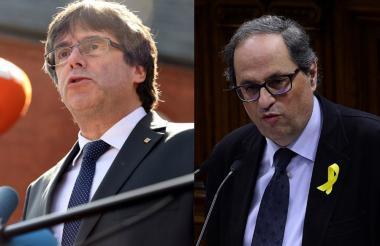 Carles Puigdemont y su sucesor Quim Torra.