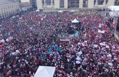 Aspecto de la concentración que hizo Vargas en la Plaza de Bolívar.