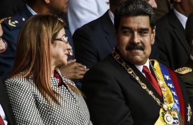 Maduro y su esposa Cilia Flores durante la ceremonia de posesión este jueves.