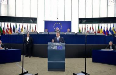 Santos durante su discurso ante la Eurocámara en Estrasburgo.