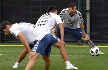 Lionel Messi en un entrenamiento con Argentina.
