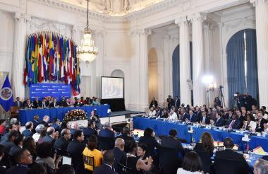 Una visión general muestra la 48ª Asamblea General de la Organización de Estados Americanos (OEA) en el Edificio Principal de la OEA.