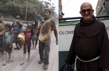 Una familia guatemalteca afectada por el deslave. En la siguiente foto el padre antioqueño Joaquín Echeverry.