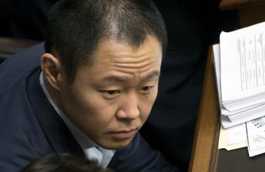 Kenji Fujimori durante la votación, ayer.