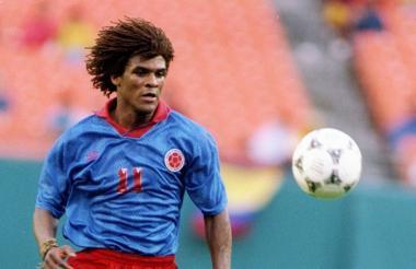 John Jairo Tréllez defendiendo los colores de la Selección Colombia.