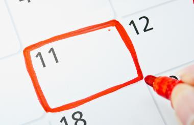 Un calendario en el que se encierra en un recuadro el 11 de junio.