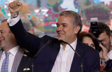 El presidente electo, durante su intervención en Colsubsidio, en Bogotá.