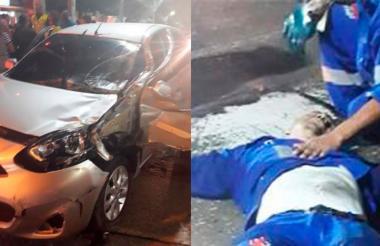 El carro que ocasionó el accidente y el operario que resultó herido.