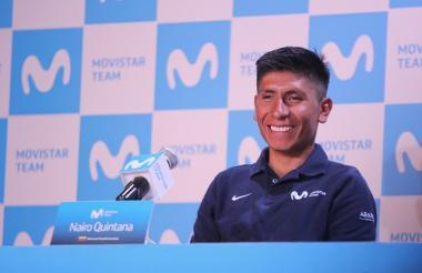 El colombiano Nairo Quintana en rueda de prensa.
