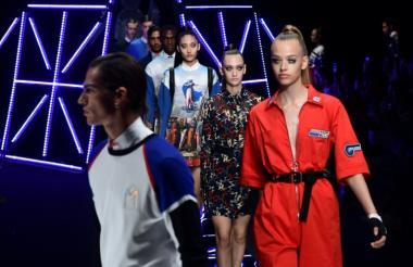 Modelos presentan las nuevas creaciones de la casa Frankie Morello, colección primavera-verano 2019, en la Semana de la Moda de Milán.