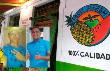Local comercial donde se registraron los hechos. En el recuadro: Diego Fuentes (d), propietario del negocio, y Michael Gómez Ocampo (i), empleado.