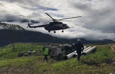 Trabajos de reparación del gasoducto afectado en inmediaciones del municipio de Páez en Boyacá.