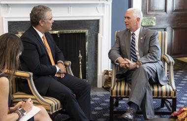 El presidente electo de Colombia, Iván Duque, en su encuentro con el vicepresidente de EEUU, Mike Pence.