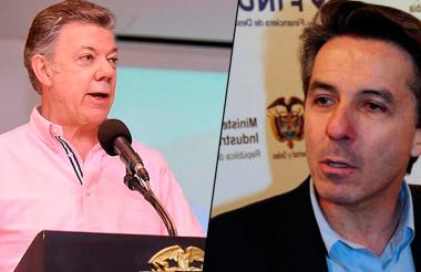 El presidente Santos y su jefe de campaña en 2010, Roberto Prieto.