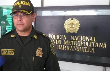 El coronel Jesús de los Reyes, comandante operativo (e) de la Policía Metropolitana de Barranquilla.