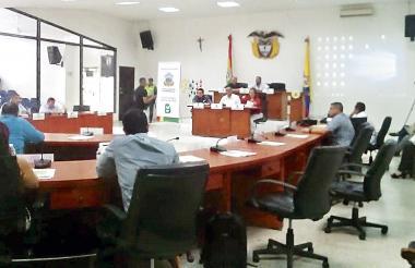 Aspecto de la sesión del Concejo realizada ayer.