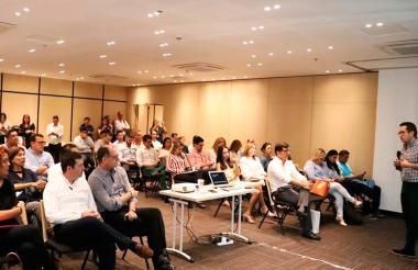 El ministro Juan Rozo durante su intervención en la reunión con los empresarios.