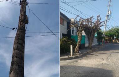 El poste está semidestruido y caso del barrio El Silencio.