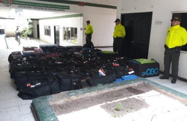Las maletas recuperadas por la Policía.
