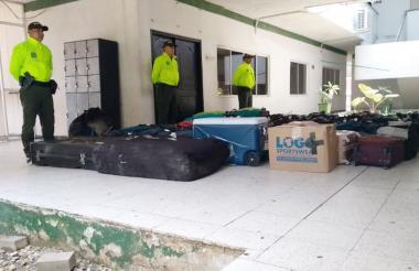 El equipaje recuperado por las autoridades.