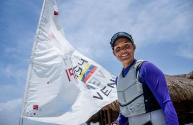 Daniela Rivera del Valle, navegante venezolana en los Juegos Centroamericanos y del Caribe.